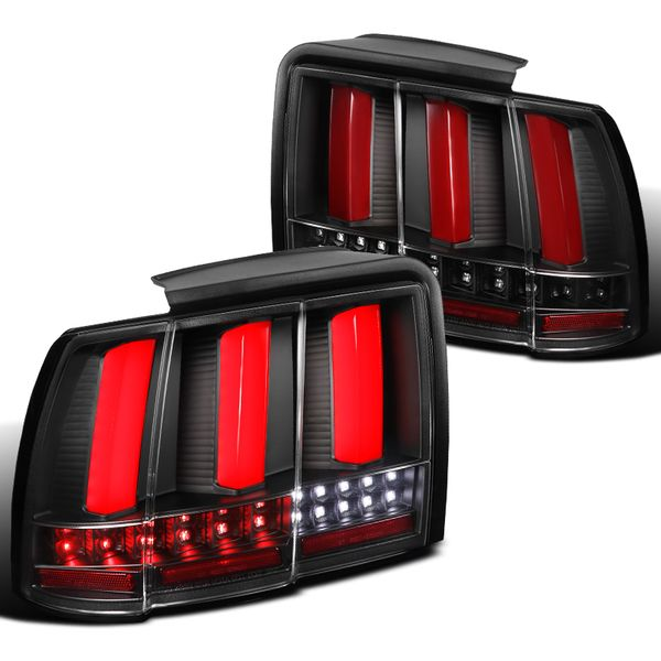 1999-2004 Ford Mustang Black Sequential Red LED Tube Tail Lights Brake Lamps