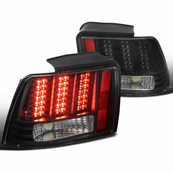 1999-2004 Ford Mustang LED [Sequential Signal] Tail Lights - Chrome Black
