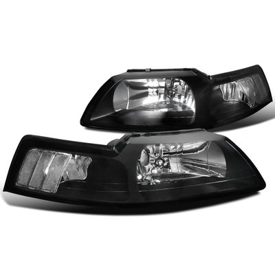 1999-2004 Ford Mustang OEM Style Black Crystal Headlights