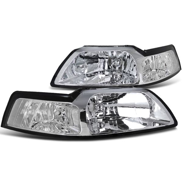 1999-2004 Ford Mustang OEM Style Chrome Crystal Headlights