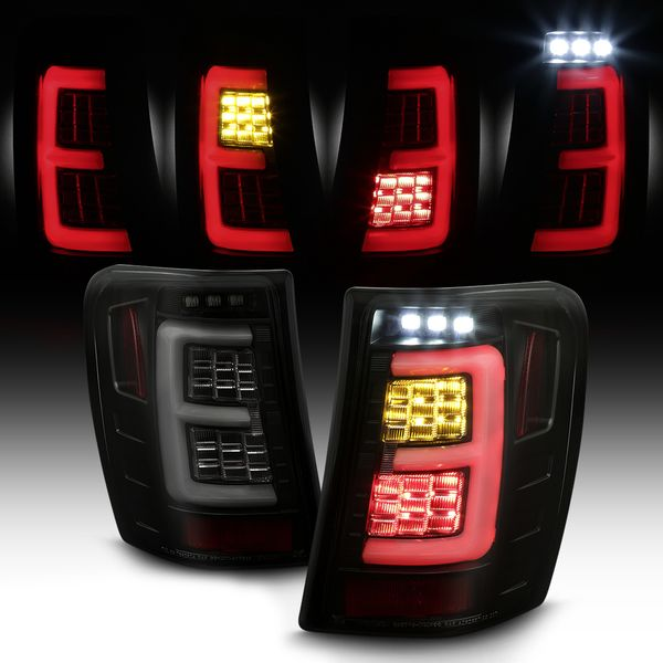 1999-2004 Jeep Grand Cherokee Full LED Tube Tail Lights - Black / Smoked Lens