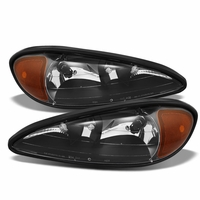 1999-2005 Pontiac Grand AM Replacement OE Style Crystal Headlights - Black