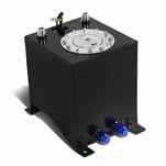 2.5-Gallon Aluminum Fuel Cell Gas Tank with Level Sender and Polished Cap - Black