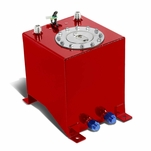 2.5-Gallon Aluminum Fuel Cell Gas Tank with Level Sender and Polished Cap - Red