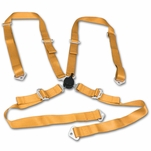 "2"" Nylon Strap 4 Point Shoulder Camlock Harness Bar Gold Racing Seat Belt"