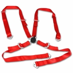 "2"" Nylon Strap 4 Point Shoulder Camlock Harness Bar Red Racing Seat Belt"
