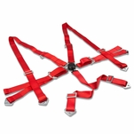 "2""Strap Six Point Shoulder Camlock Harness Bar Adjustable Red Racing Seat Belt"