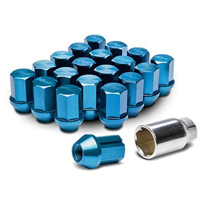 20-Piece M12 x 1.5 Acorn Seat Wheel Lug Nuts+Lock - Blue