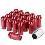 20-Piece M12 x 1.5 Extended Aluminum Alloy Wheel Lug Nuts+Adapter Key Red