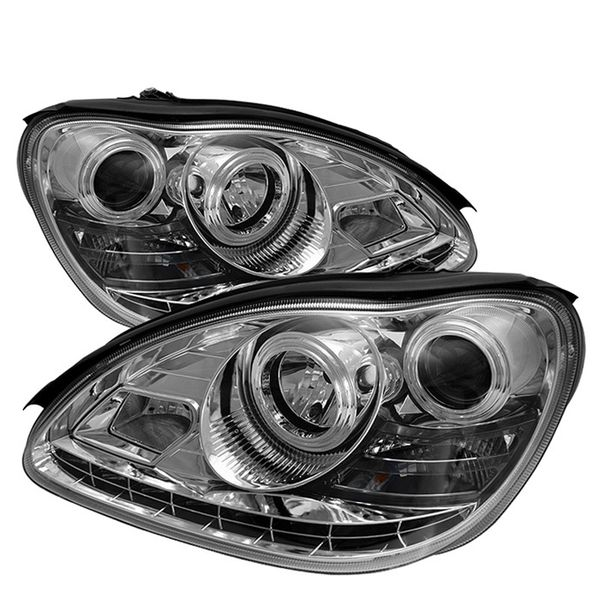 2000-2005 Mercedes Benz S-Class W220 LED DRL Euro Projector Headlights - Chrome