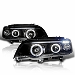 2001-2003 BMW X5 E53 Dual Halo LED Projector Headlights - Black Clear