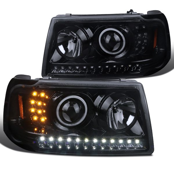 2001-2011 Ford Ranger Smoked Lens LED Strip Projector Headlights