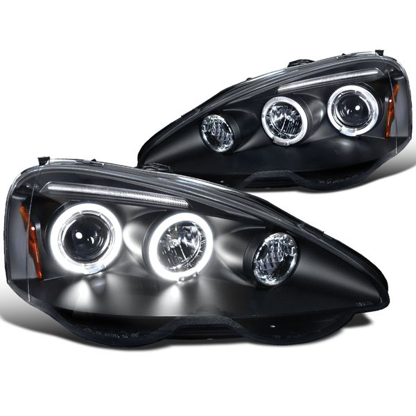 Spec-D 2002-2004 Acura RSX Angel Eye Halo & LED Projector Headlights - Black