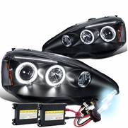 2002-2004 Acura RSX Dual Halo & LED Strip Projector Headlights - Black Housing