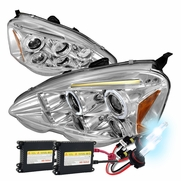 2002-2004 Acura RSX Dual Halo & LED Strip Projector Headlights - Chrome Housing