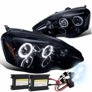 2002-2004 Acura RSX Dual Halo & LED Strip Projector Headlights - Gloss Black