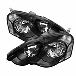 Spec-D 2002-2004 Acura RSX JDM Style Crystal Headlights (Clear Reflector) - Black