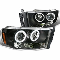 2002-2005 Dodge Ram 1500 2500 Angel Eye Halo & LED Projector Headlights - Black