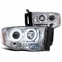 2002-2005 Dodge Ram 1500 2500 Angel Eye Halo & LED Projector Headlights - Chrome