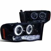 2002-2005 Dodge Ram 1500 2500 Angel Eye Halo & LED Projector Headlights - Gloss Black
