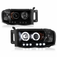 2002-2005 Dodge Ram 1500 2500 Dual Halo LED Projector Headlights - Black / Smoked