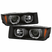 2002-2006 Chevy Avalanche 1500 2500 LED Halo Projector Headlights - Black