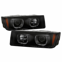2002-2006 Chevy Avalanche 1500 2500 LED Halo Projector Headlights - Black Smoked