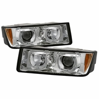 2002-2006 Chevy Avalanche 1500 2500 LED Halo Projector Headlights - Chrome