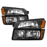 2002-2006 Chevy Avalanche [w/ Body Cladding] Headlights Set - Black