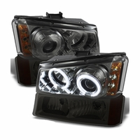 2003-2006 Chevy Silverado / Avalanche Angel Eye Halo LED Projector Headlights + Bumper Lens - Smoked