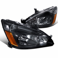 DNA 2003-2007 Honda Accord Replacement Crystal Headlights - Black