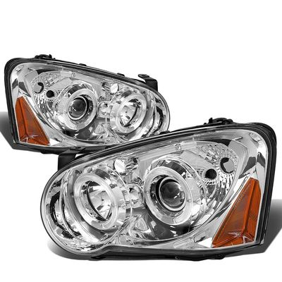 2004-2005 Subaru Impreza WRX / STI Angel Eye Halo & Neon Strip Projector Headlights - Chrome