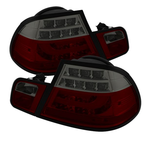 2004-2006 BMW 3-Series E46 Coupe LED Light-Tube Tail Light  - Red Smoked