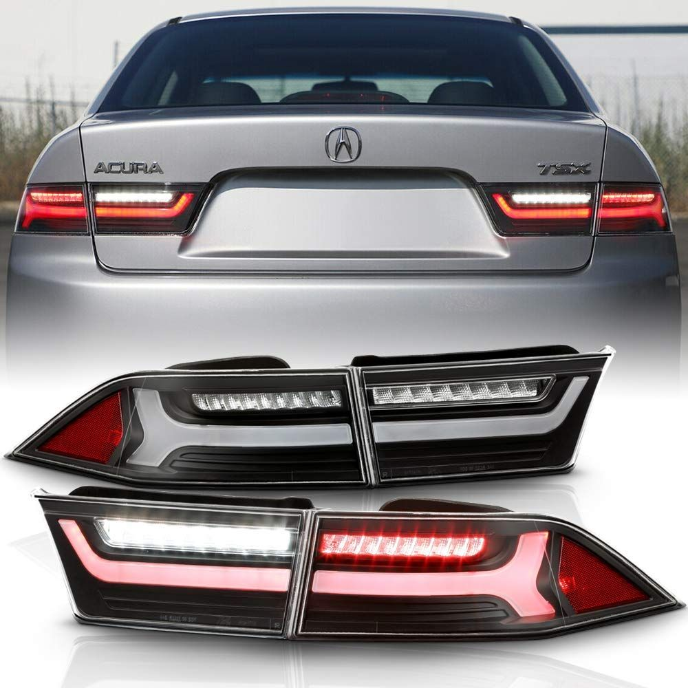 2004-2008 Acura TSX Black Full LED Tube Tail Lights