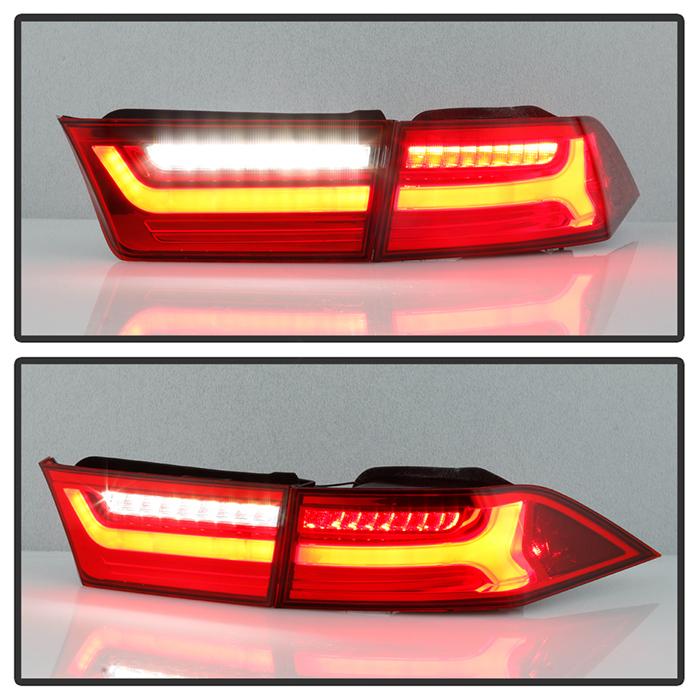 2004-2008 Acura TSX Red / Clear Full LED Tube Tail Lights
