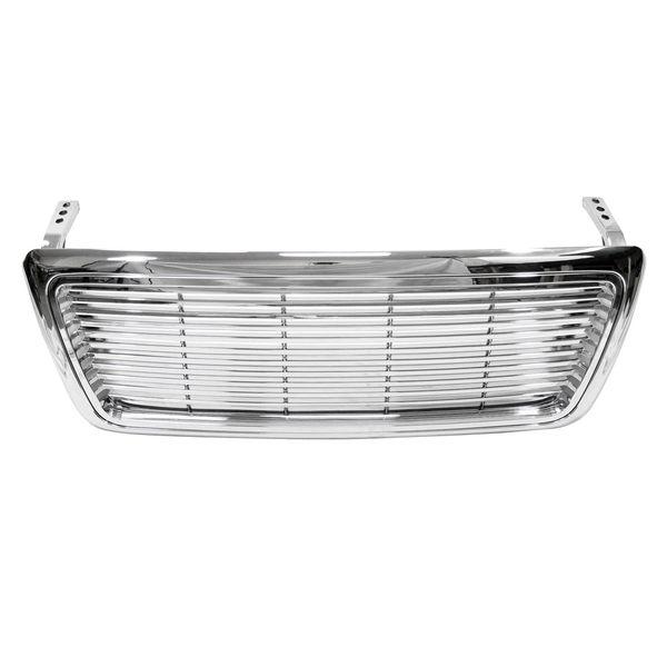 2004-2008 Ford F150 Horizontal Front Hood Bumper Grill Grille - Chrome