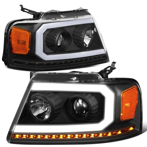 2004-2008 Ford F150 LED DRL Sequential Signal Projector Headlights - Black Amber