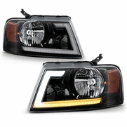 2004-2008 Ford F150 LED Tube Switchback Signal Headlights - Black