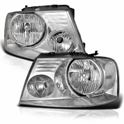 2004-2008 Ford F150 / Lincoln Mark LT Euro Style Crystal Headlights - Chrome Clear