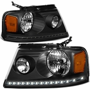 2004-2008 Ford F150 / Lincoln Mark LT LED DRL Headlights - Black Amber
