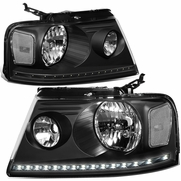 2004-2008 Ford F150 / Lincoln Mark LT LED DRL Headlights - Black Clear
