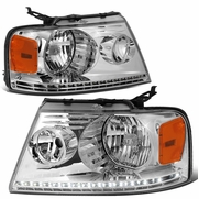 2004-2008 Ford F150 / Lincoln Mark LT LED DRL Headlights - Chrome Amber