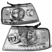 2004-2008 Ford F150 / Lincoln Mark LT LED DRL Headlights - Chrome Clear