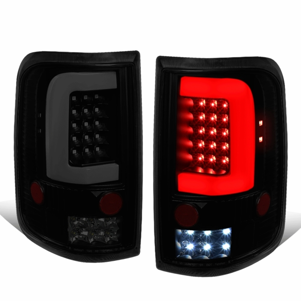 2004-2008 Ford F150 Lobo Full LED Clear C-Tube Tail Lights - Black Smoked