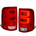 2004-2008 Ford F150 Lobo Full LED Clear C-Tube Tail Lights - Red