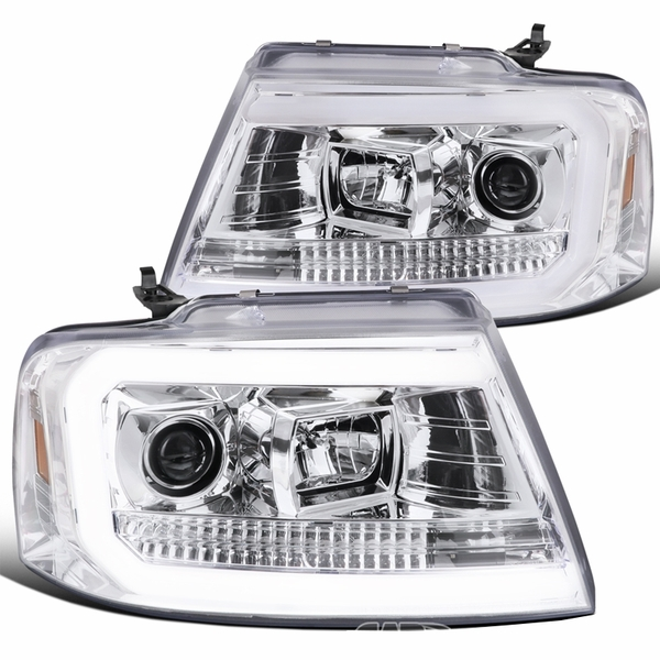 2004-2008 Ford F150 Optic-Tube Projector Headlights - Chrome
