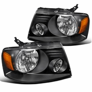 2004-2008 Ford F150 Pickup Crystal Headlights - Black