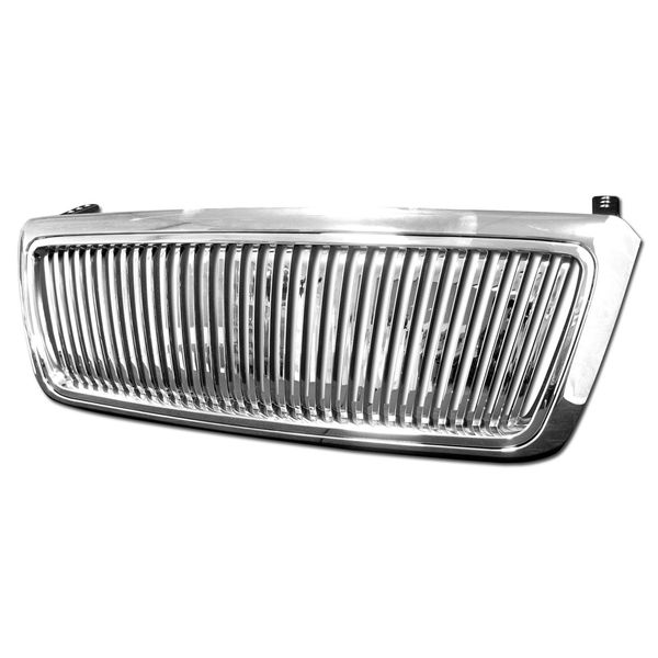 2004-2008 Ford F150 Vertical Front Hood Bumper Grill Grille - Chrome