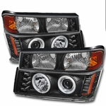 2004-2012 Chevy Colorado / GMC Canyon Angel Eye Halo & LED Projector Headlights - Black