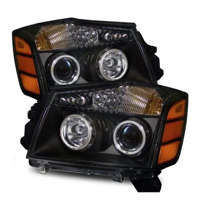 04-14 Nissan Titan / 04-07 Armada  CCFL Angel Eye Halo & LED Projector Headlights - Black